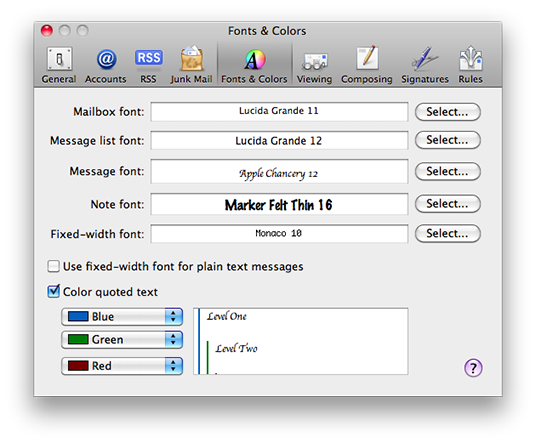 Mac Mail preferences, font and color
