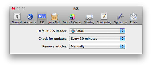 Mac Mail preferencdes, RSS feed