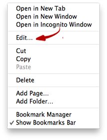 Google Chrome - Edit Bookmarks in Bookmark Bar