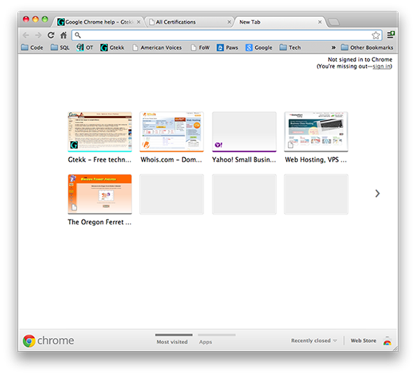 Google Chrome - New tab