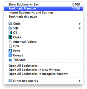 Google Chrome - open Bookmarks Manager