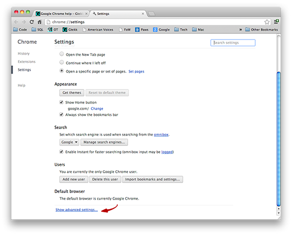 Google Chrome - Show advanced settings