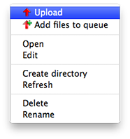 Upload files in Filezilla with a right-click